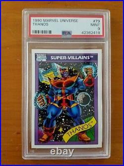 1990 Marvel Universe 9-Card Lot Capt. America-Stan Lee-Black Panther all PSA 9