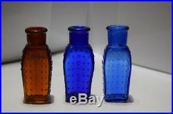 3 KU-18 Poison Bottles Norwich Coffins all mint Amber, Cobalt, Blue