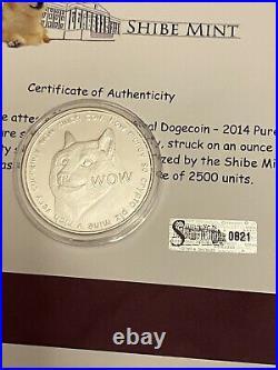 #420 2014 Shibe Mint Collection. 999 Silver Dogecoin 1 oz, Dogecar, all COAs