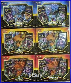 6 Box Lot Pokemon Hidden Fates GX Collection Box All 3 Artworks x2