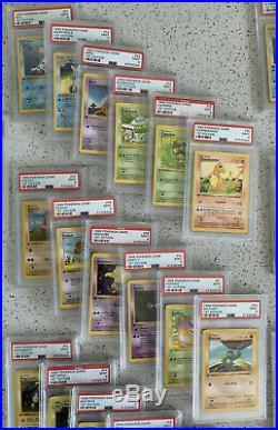 Base Set 1st Edition Non Holo Set 17-102 Both Pikachu 87 Cards all PSA 9 Mint