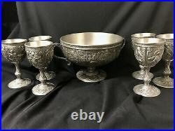 Excalibur Pewter Bowl and ALL 6 Goblets ofthe FRANKLIN MINT's LEGENDS OF CAMELOT