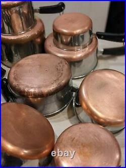 LOT 12 Vintage Revere Ware Copper Clad Bottom Cookware with10 Lids -ALL USA MADE