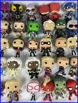 Loose Lot Of 57 Funko Pops All Marvel/DC Comics Huge Lot