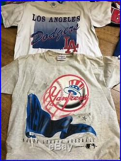Mlb NFL Wcw NHL Lot Of (16) Vtg 80s 90s Collectible Shirts All Adult Sizes