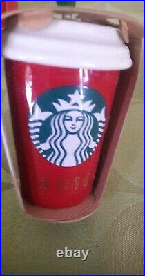 NEW & Rare Lot of 9 Starbucks Christmas Holiday Ornaments ALL DIFERENT OOP VHTF