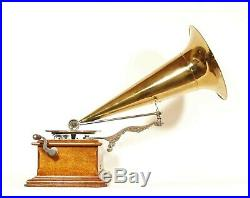 Near Mint 1902 Zonophone Concert Grand Phonograph With Original All-Brass Horn