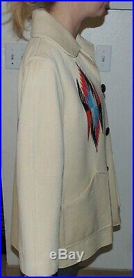 ORTEGA'S Chimayo 100% All Wool Hand Woven Jacket Coat sz 10 MINT