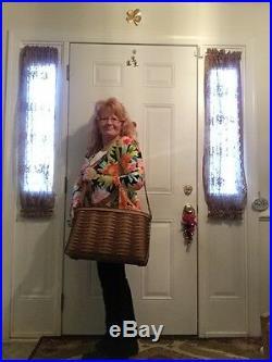 Rare HUGE Longaberger Chestnut Carry All BASKET PROTECTOR LOT Purse LapTop Tote