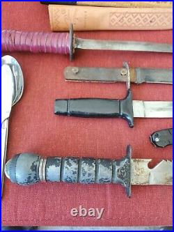 Vintage Fighting Survival, knives lot all pre owned E4