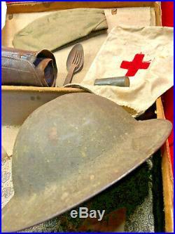 Ww1 Us Army Soldier Lot In, Connecticut Suitcase, All Original, Helmet Cap Etc