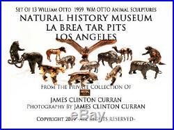X RARE 1959 Set of All 13 LA BREA TAR PITS MUSEUM WM OTTO BRONZE ANIMALS MINT NR